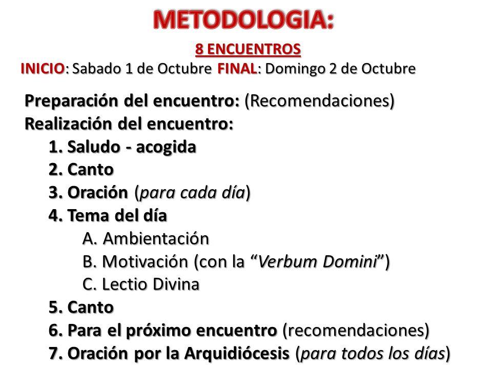 METODOLOGIA: Preparación del encuentro: (Recomendaciones)