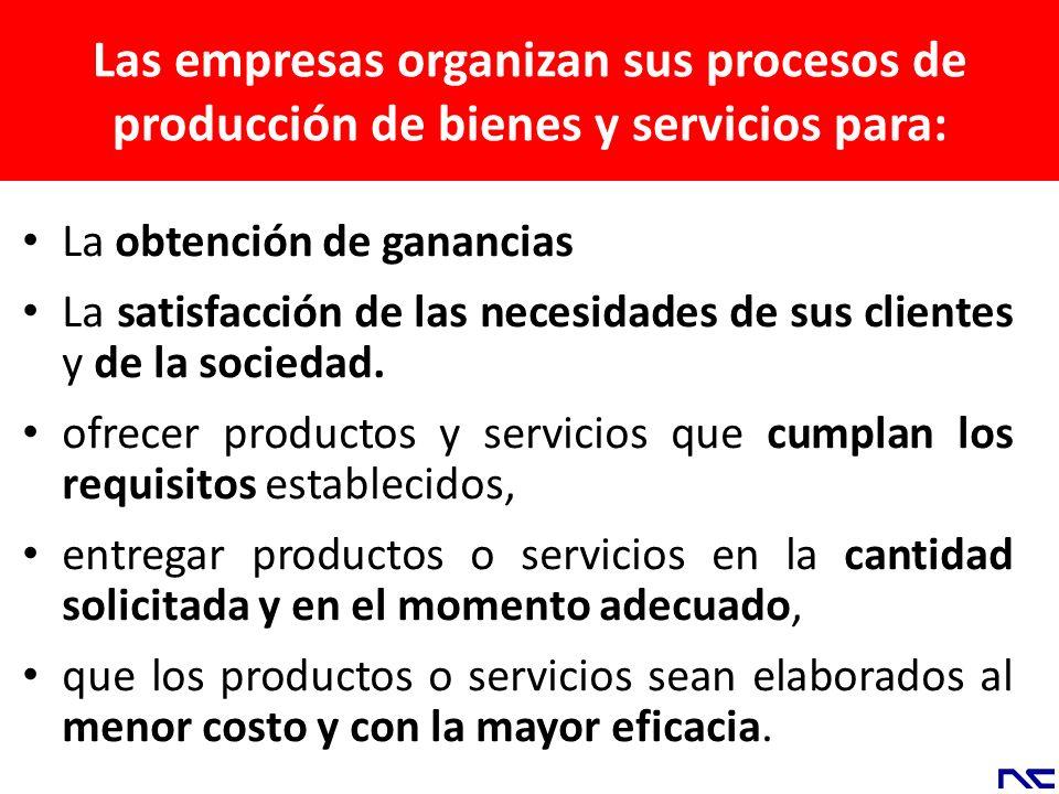 Las empresas organizan sus procesos de producción de bienes y servicios para: