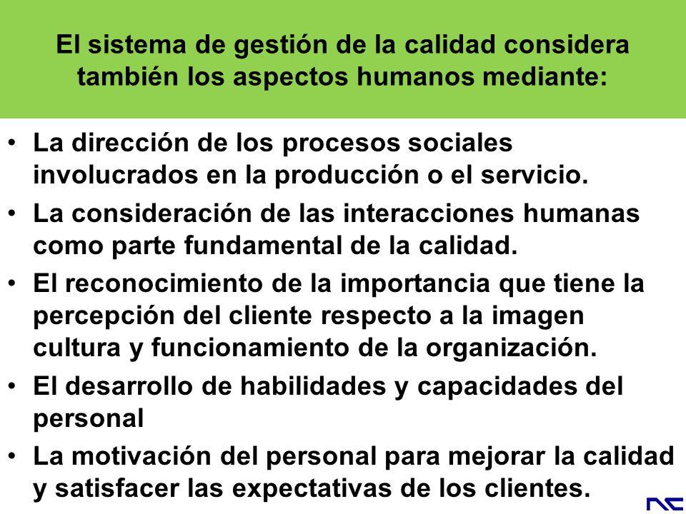 El sistema de gestión de la calidad considera también los aspectos humanos mediante: