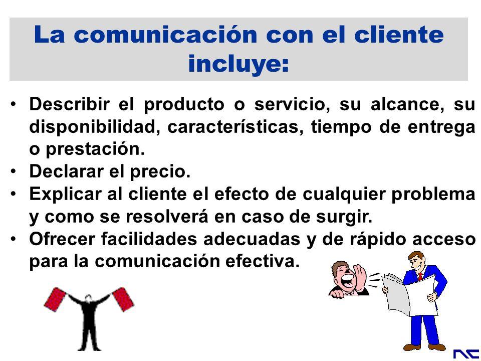 La comunicación con el cliente incluye: