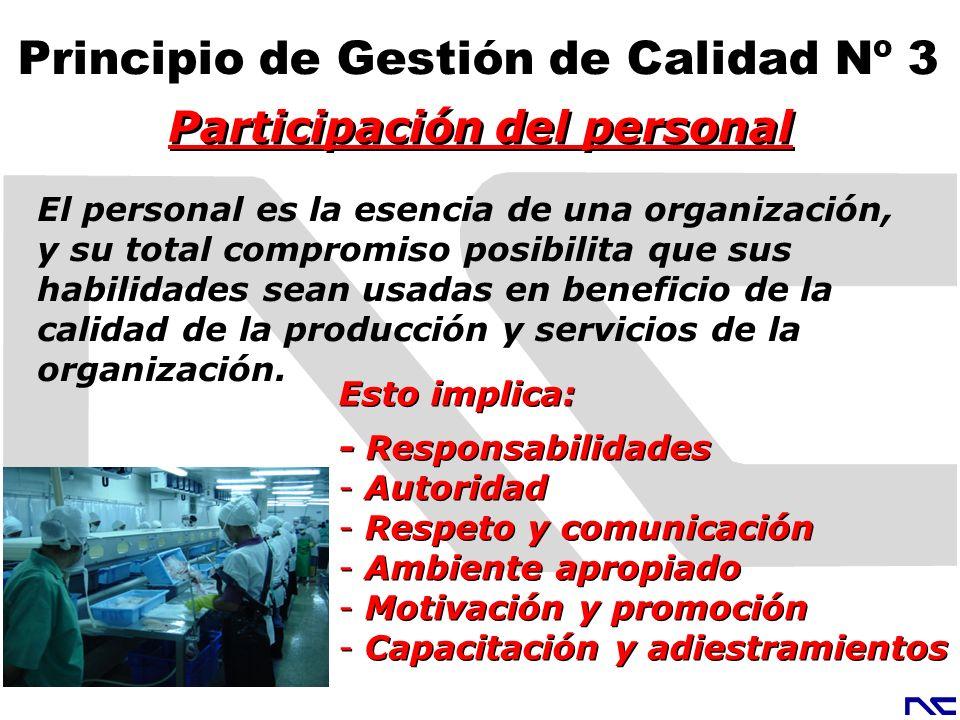 Participación del personal Principio de Gestión de Calidad Nº 3
