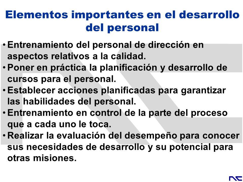 Elementos importantes en el desarrollo del personal