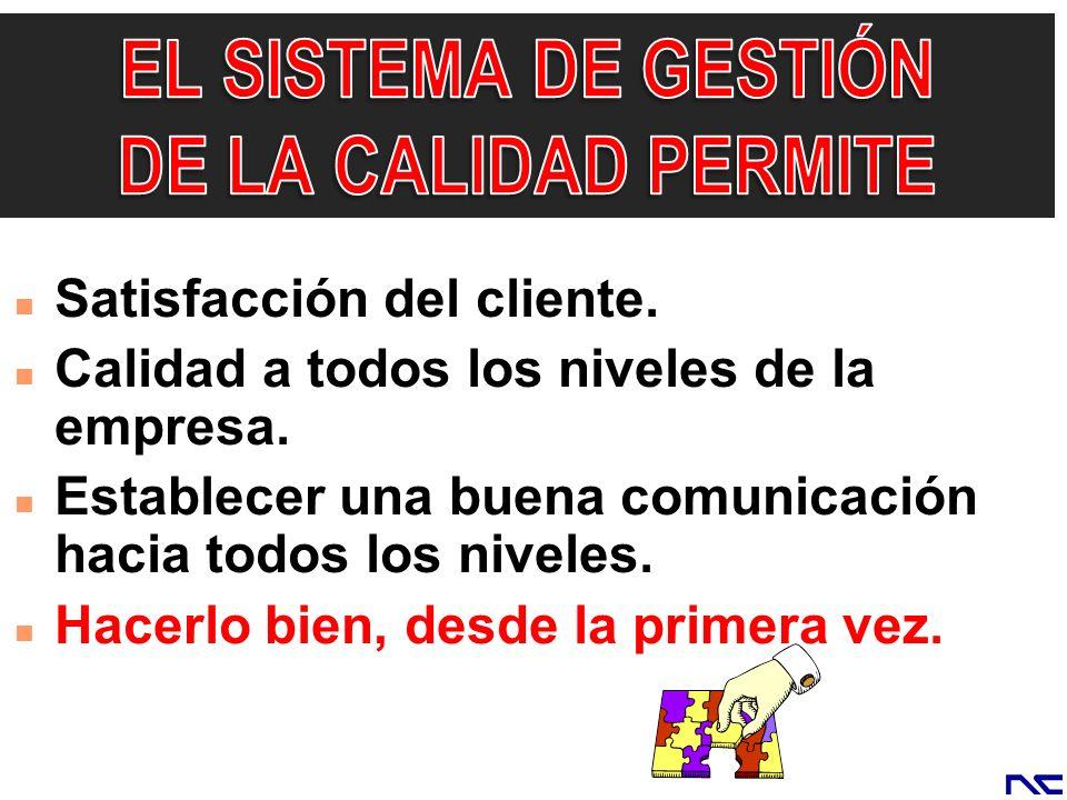 EL SISTEMA DE GESTIÓN DE LA CALIDAD PERMITE