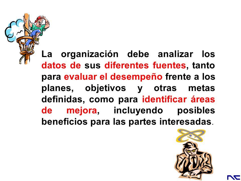 La organización debe analizar los datos de sus diferentes fuentes, tanto para evaluar el desempeño frente a los planes, objetivos y otras metas definidas, como para identificar áreas de mejora, incluyendo posibles beneficios para las partes interesadas.