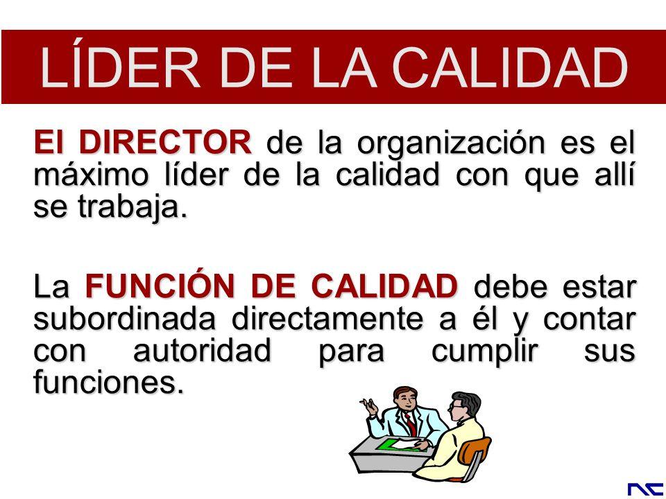 LÍDER DE LA CALIDAD El DIRECTOR de la organización es el máximo líder de la calidad con que allí se trabaja.