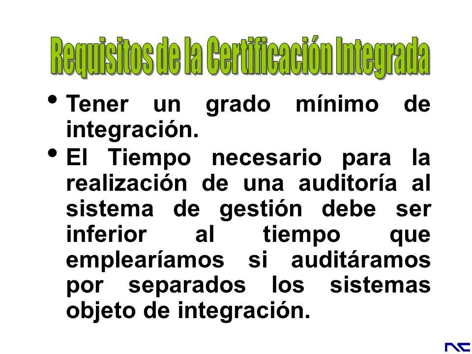 Requisitos de la Certificación Integrada