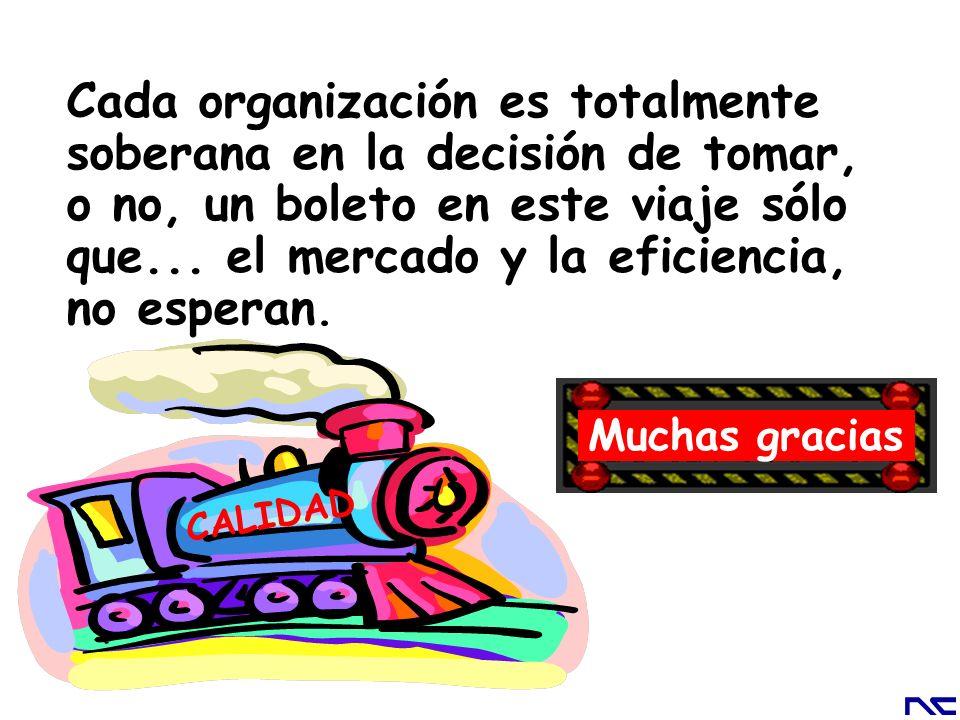 Cada organización es totalmente soberana en la decisión de tomar, o no, un boleto en este viaje sólo que... el mercado y la eficiencia, no esperan.