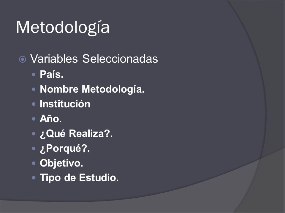 Metodología Variables Seleccionadas País. Nombre Metodología.