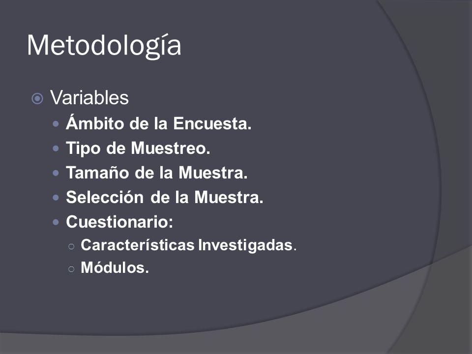 Metodología Variables Ámbito de la Encuesta. Tipo de Muestreo.