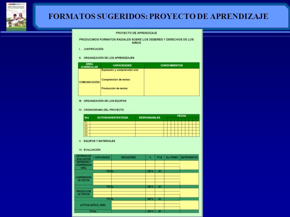 FORMATOS SUGERIDOS: PROYECTO DE APRENDIZAJE