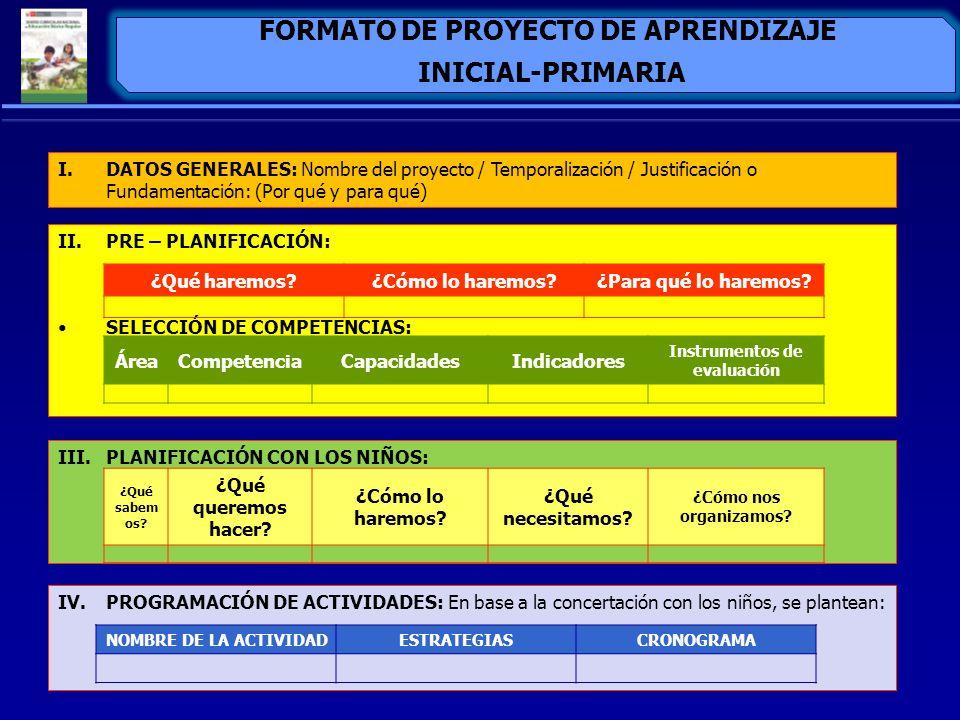 FORMATO DE PROYECTO DE APRENDIZAJE Instrumentos de evaluación