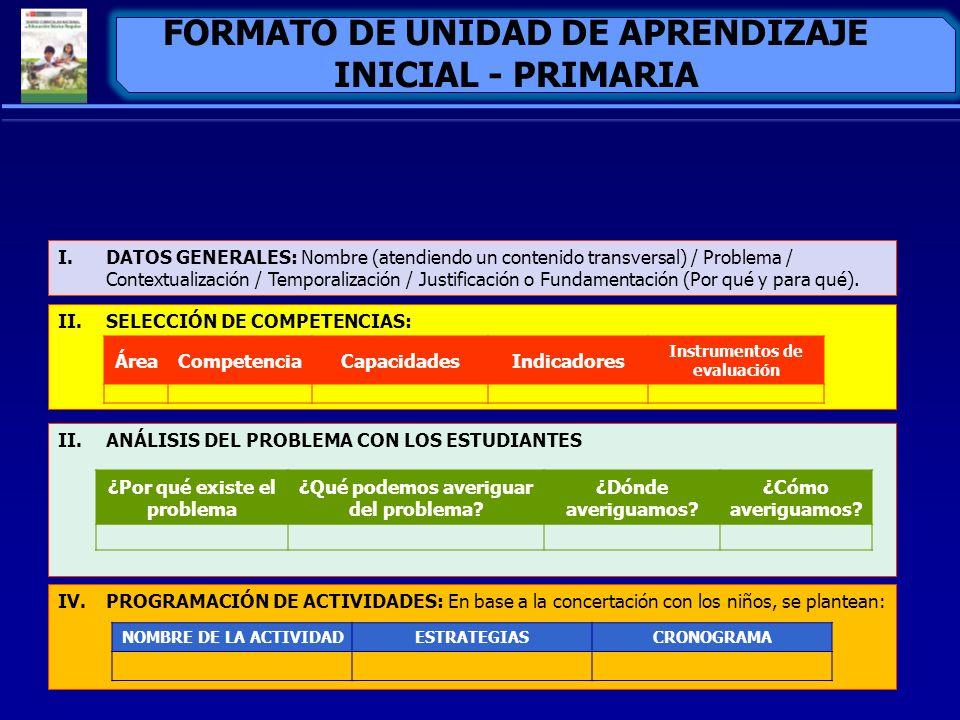 FORMATO DE UNIDAD DE APRENDIZAJE INICIAL - PRIMARIA