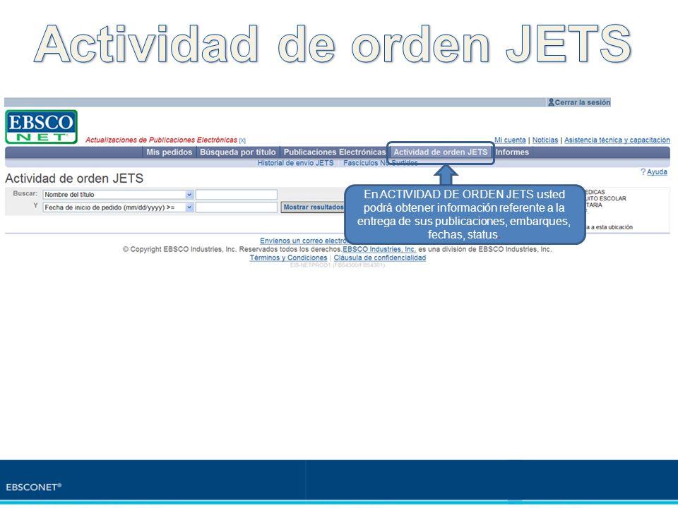 Actividad de orden JETS