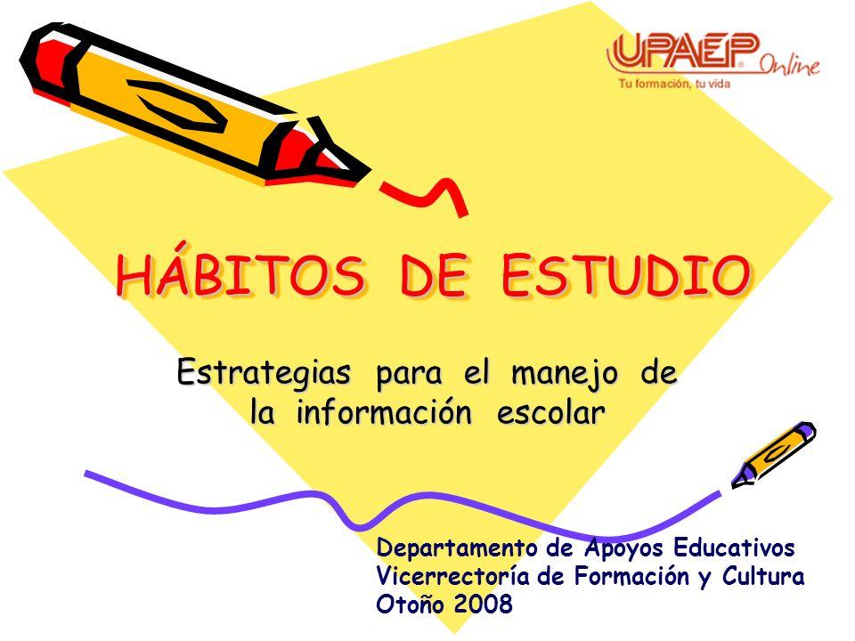 Estrategias para el manejo de la información escolar