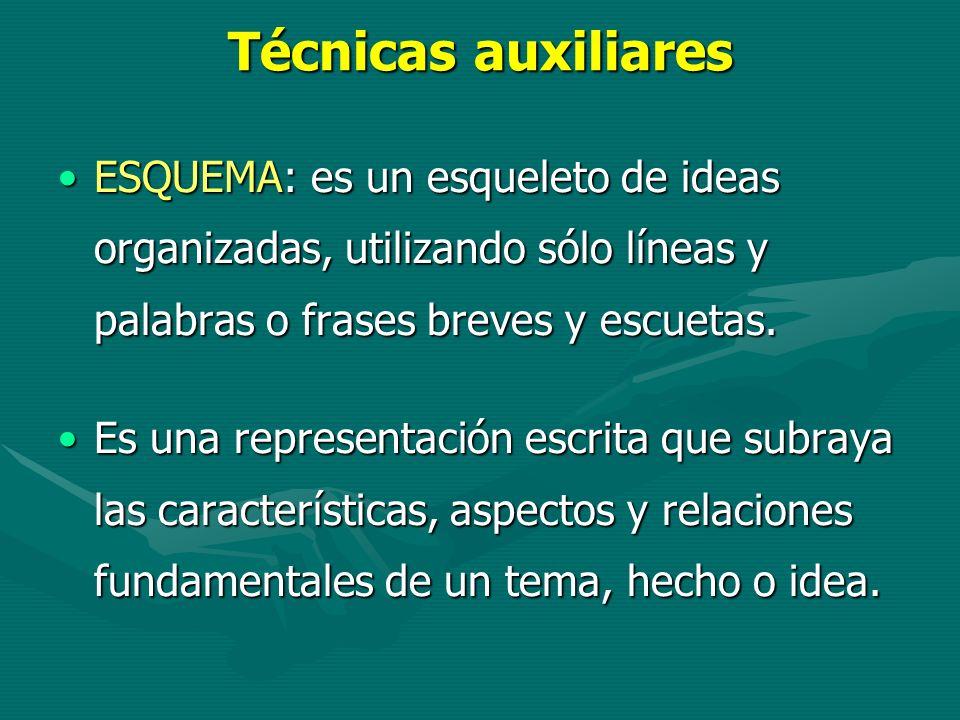 Técnicas auxiliares ESQUEMA: es un esqueleto de ideas organizadas, utilizando sólo líneas y palabras o frases breves y escuetas.