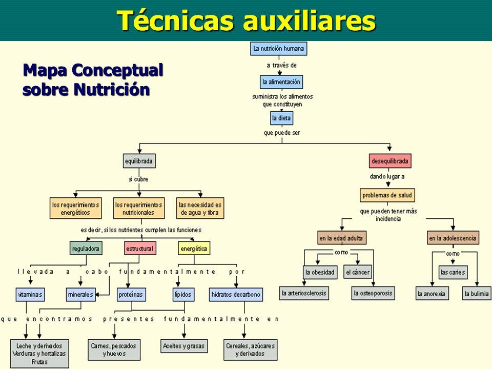 Técnicas auxiliares Mapa Conceptual sobre Nutrición