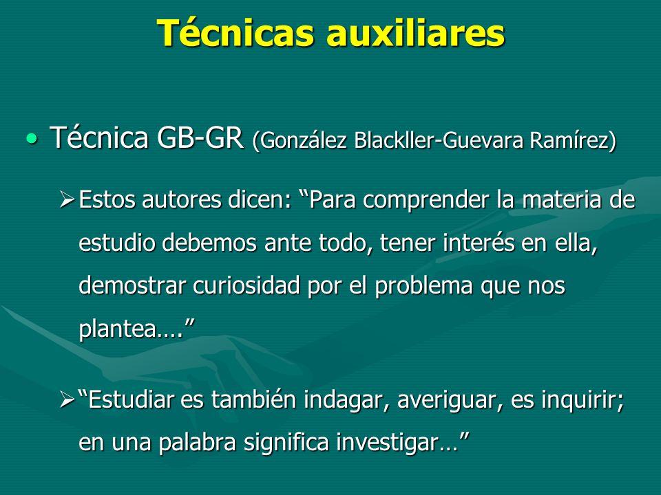 Técnicas auxiliares Técnica GB-GR (González Blackller-Guevara Ramírez)