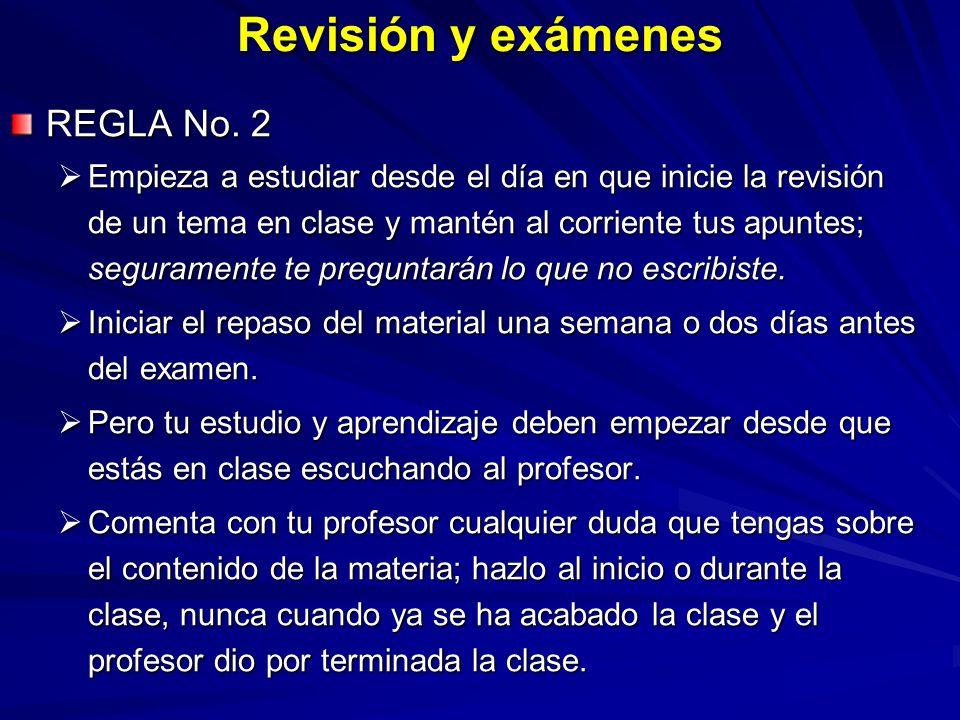 Revisión y exámenes REGLA No. 2