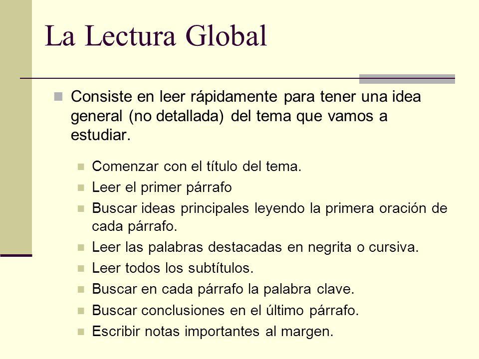 La Lectura Global Consiste en leer rápidamente para tener una idea general (no detallada) del tema que vamos a estudiar.