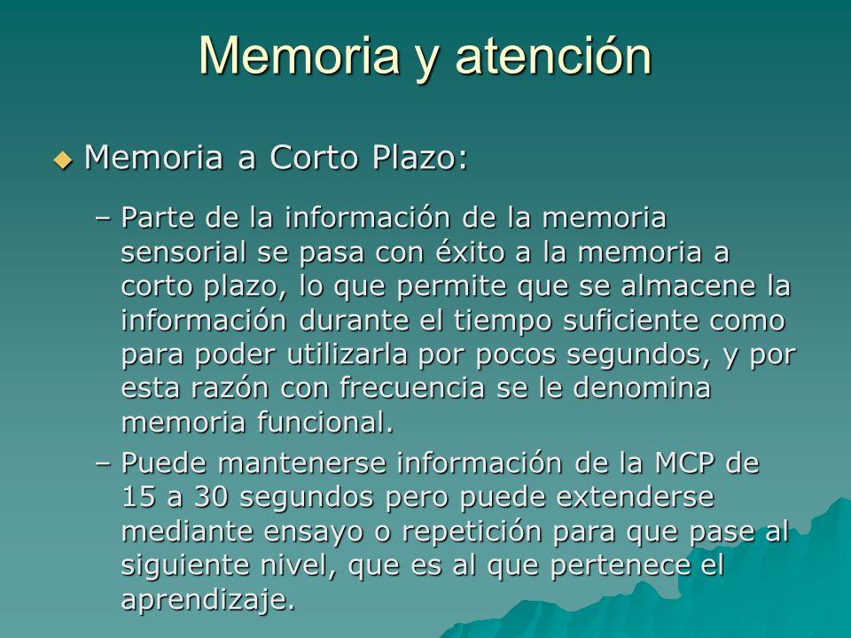 Memoria y atención Memoria a Corto Plazo: