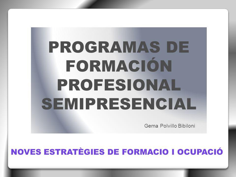 PROGRAMAS DE FORMACIÓN PROFESIONAL SEMIPRESENCIAL