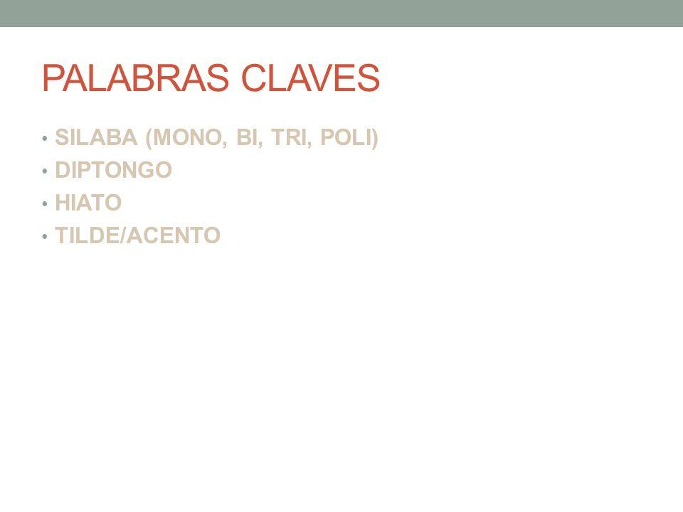 PALABRAS CLAVES SILABA (MONO, BI, TRI, POLI) DIPTONGO HIATO