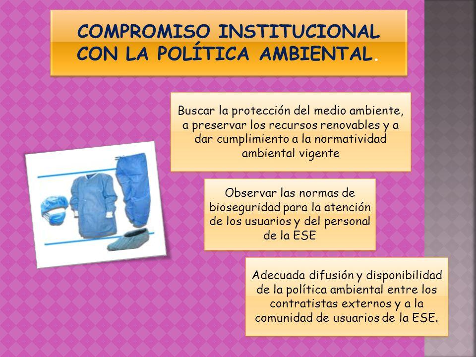 COMPROMISO INSTITUCIONAL CON LA POLÍTICA AMBIENTAL.