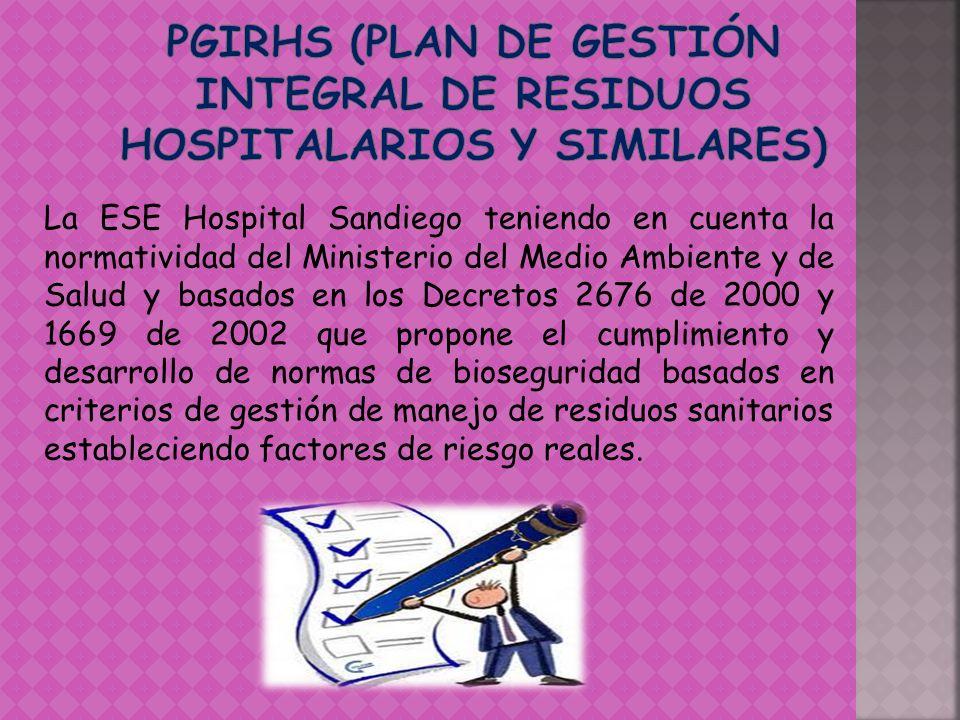 PGIRHS (Plan De Gestión Integral de Residuos Hospitalarios Y Similares)