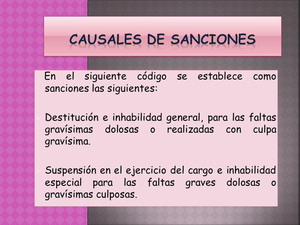 CAUSALES DE SANCIONES En el siguiente código se establece como sanciones las siguientes: