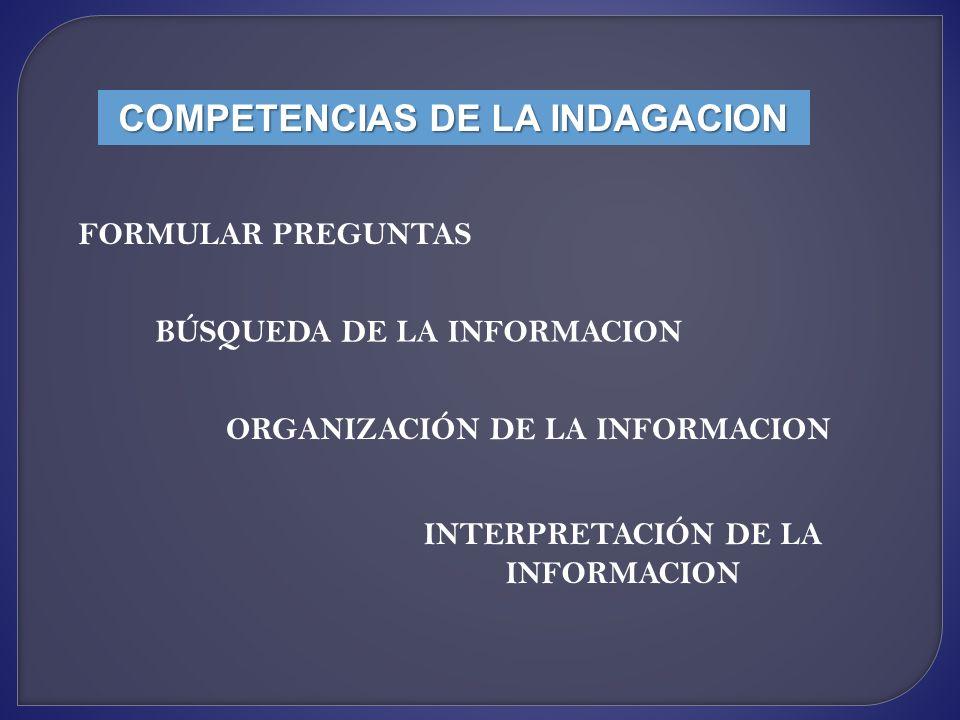 COMPETENCIAS DE LA INDAGACION