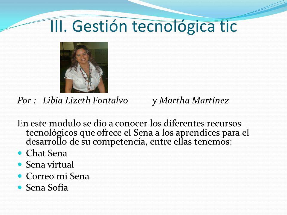 III. Gestión tecnológica tic