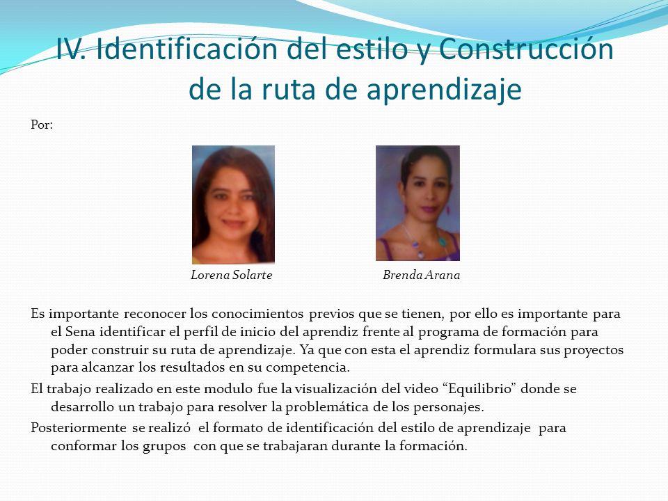 IV. Identificación del estilo y Construcción de la ruta de aprendizaje