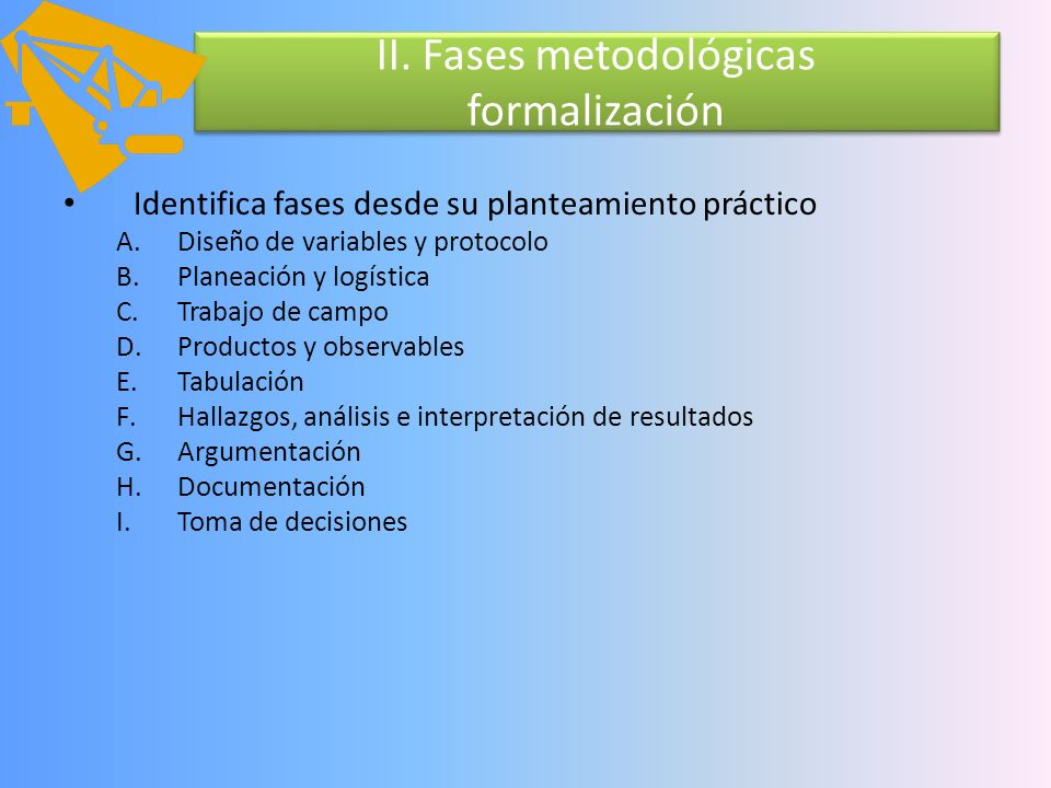 II. Fases metodológicas formalización