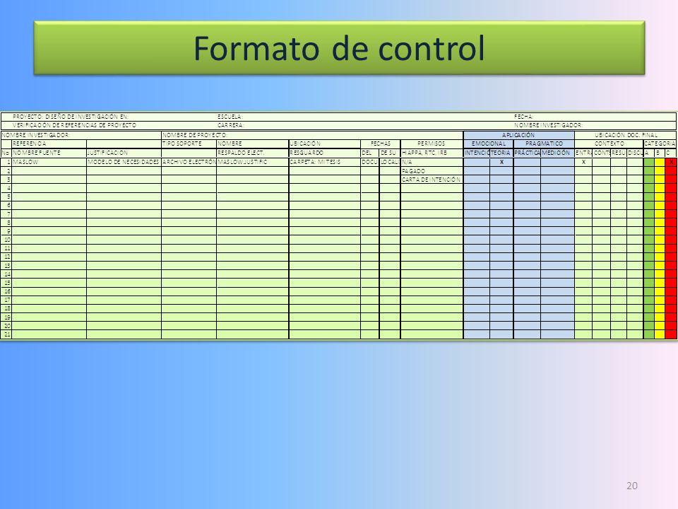 Formato de control