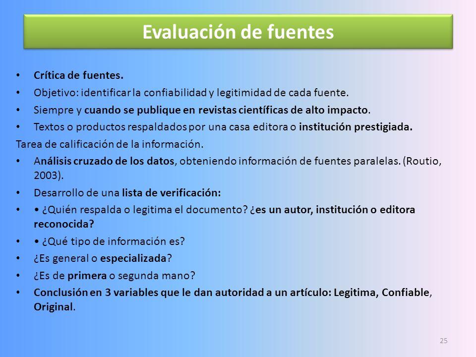 Evaluación de fuentes Crítica de fuentes.