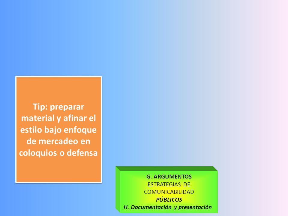H. Documentación y presentación