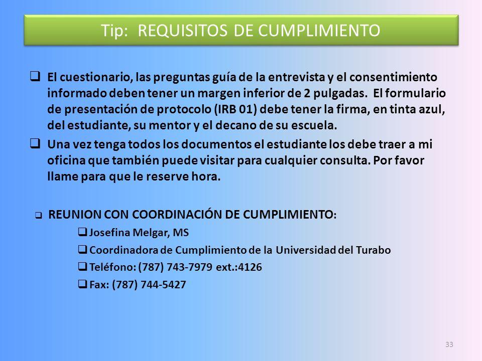 Tip: REQUISITOS DE CUMPLIMIENTO