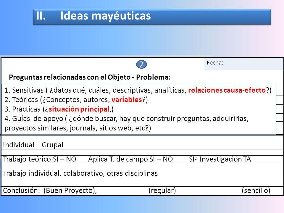 II. Ideas mayéuticas Preguntas relacionadas con el Objeto - Problema: Fecha: Epistemología: Individual – Grupal.