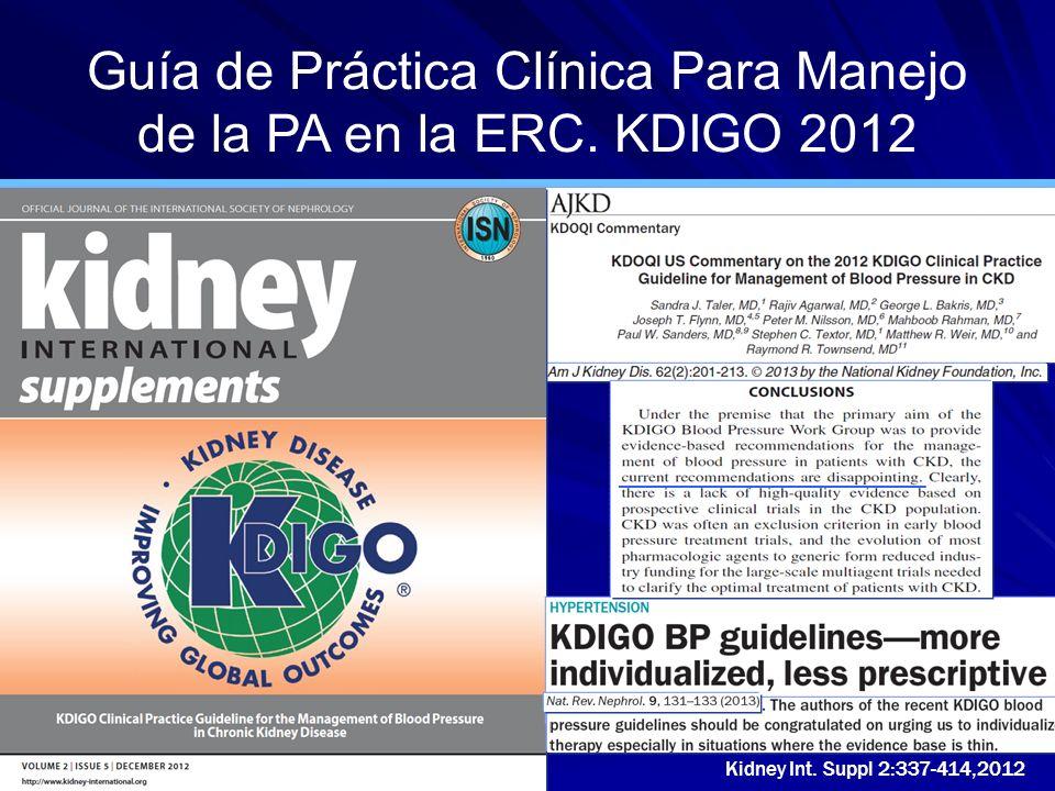 Guía de Práctica Clínica Para Manejo de la PA en la ERC. KDIGO 2012