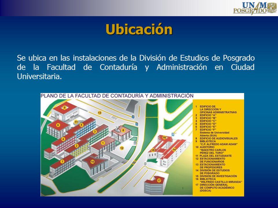 Ubicación Se ubica en las instalaciones de la División de Estudios de Posgrado de la Facultad de Contaduría y Administración en Ciudad Universitaria.
