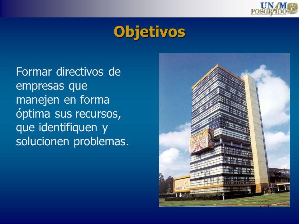 Objetivos Formar directivos de empresas que manejen en forma óptima sus recursos, que identifiquen y solucionen problemas.