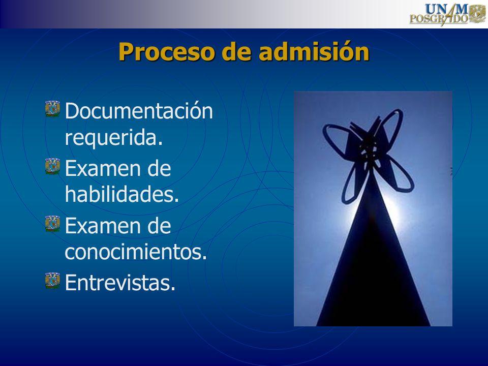 Proceso de admisión Documentación requerida. Examen de habilidades.