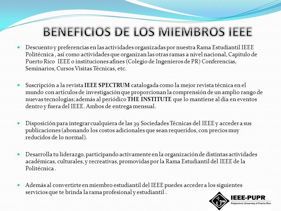 BENEFICIOS DE LOS MIEMBROS IEEE