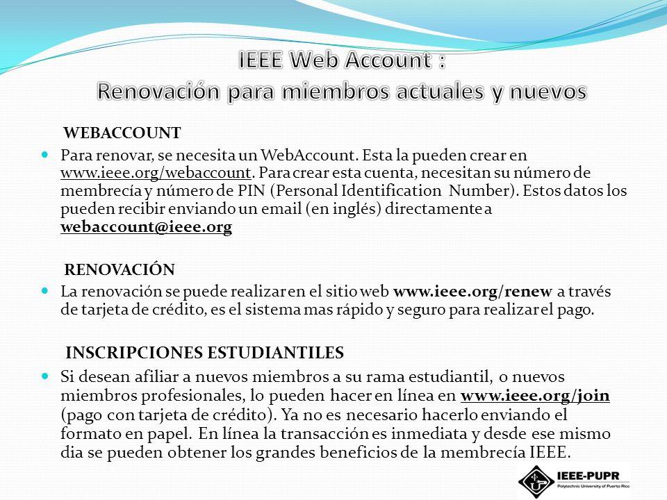 IEEE Web Account : Renovación para miembros actuales y nuevos