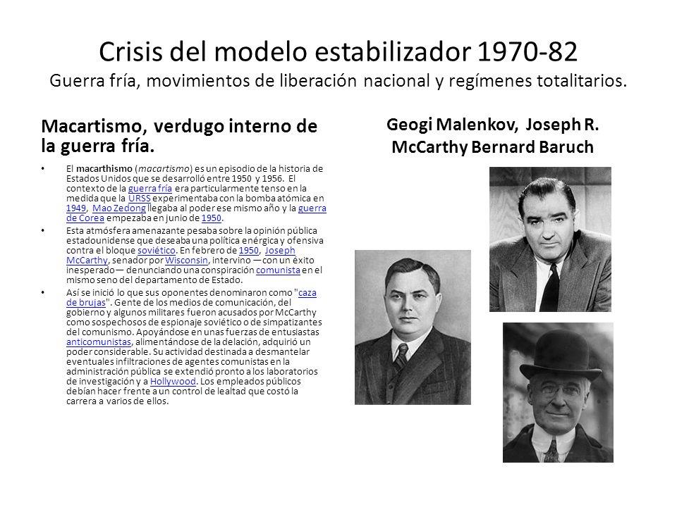 Geogi Malenkov, Joseph R. McCarthy Bernard Baruch
