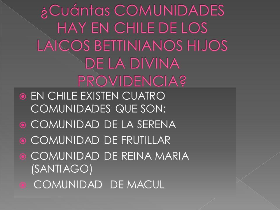 ¿Cuántas COMUNIDADES HAY EN CHILE DE LOS LAICOS BETTINIANOS HIJOS DE LA DIVINA PROVIDENCIA