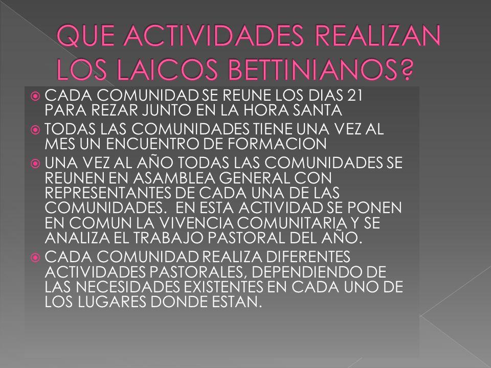 QUE ACTIVIDADES REALIZAN LOS LAICOS BETTINIANOS