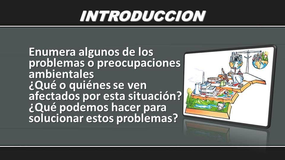 INTRODUCCION Enumera algunos de los problemas o preocupaciones ambientales. ¿Qué o quiénes se ven afectados por esta situación