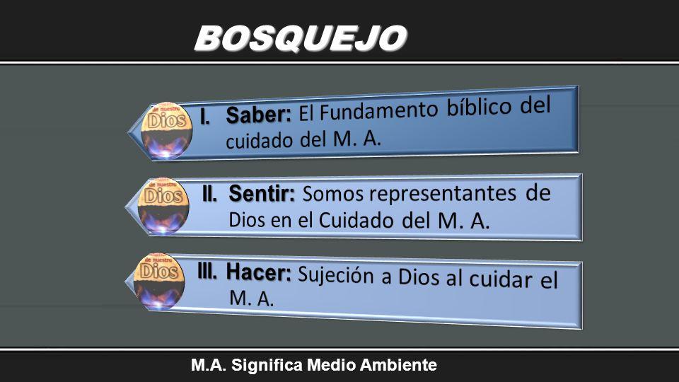 BOSQUEJO I. Saber: El Fundamento bíblico del cuidado del M. A.