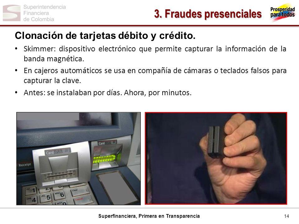 3. Fraudes presenciales Clonación de tarjetas débito y crédito.